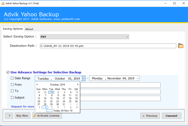 Create PST from Yahoo Mail