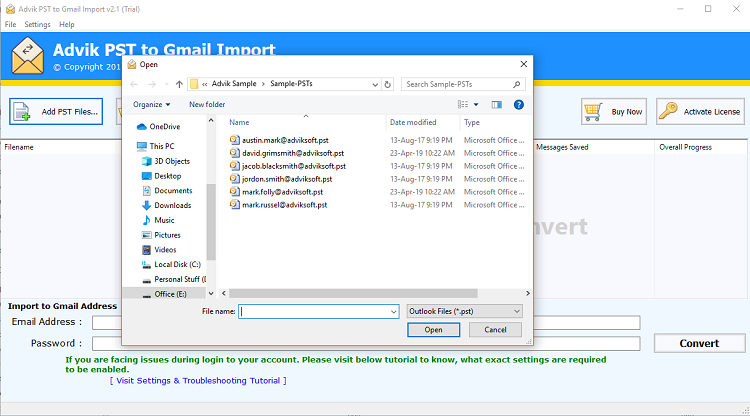 import pst to gmail