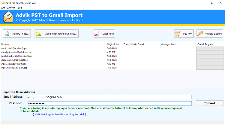 pst to gmail manually