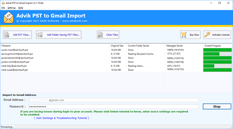 import pst to gmail manually