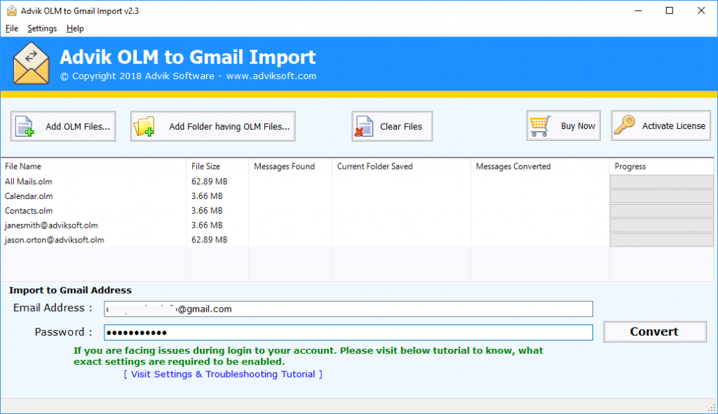 import olm to gmail