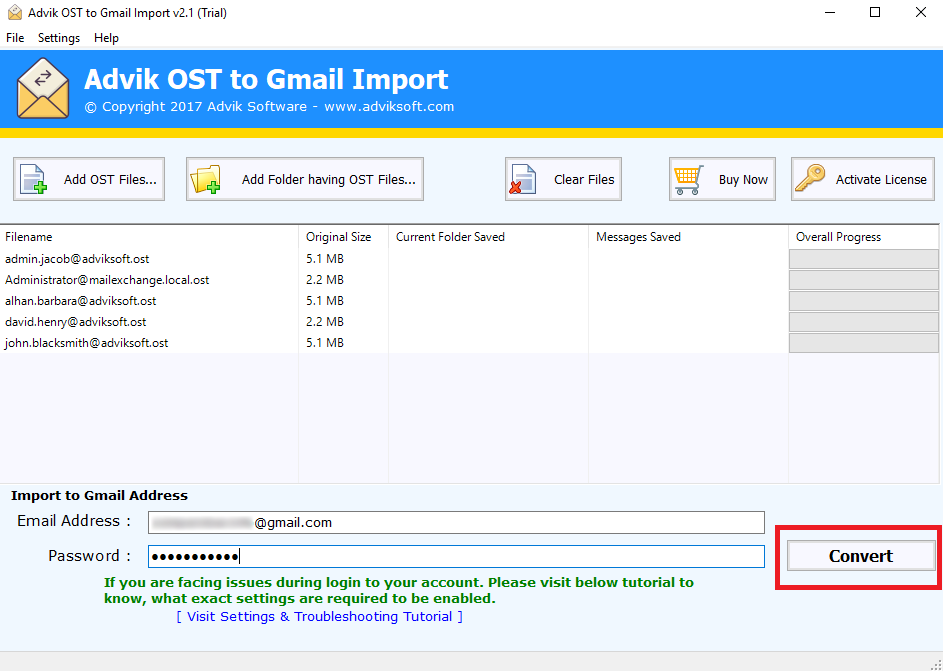 import ost to gmail