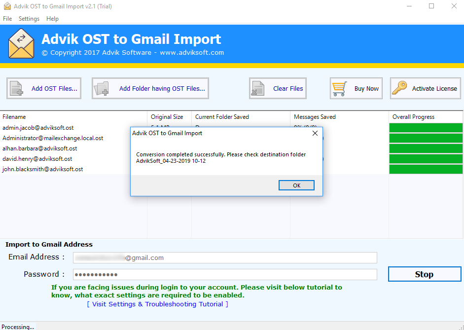 import ost to gmail manually